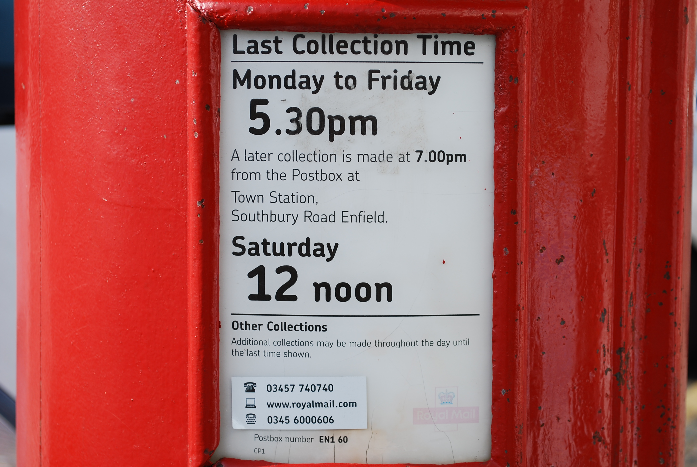 Post Office Collection Times >> Collection Times Post Office Boxes In Bush Hill Park Station